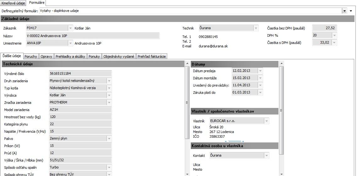 Informačný systém pre správu a servis kotlov